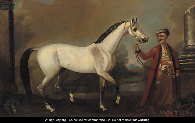The bloody-shouldered Arabian held by a groom - (after) John Wootton