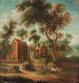 A wooded landscape with figures and a horse and cart before a hamlet - (after) Joseph Van Bredael