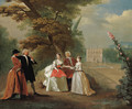 Elegant company in the grounds of a country villa - (after) Joseph Francis Nollekens