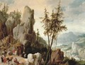 An extensive mountainous landscape with travellers on a path - Joos Or Josse De, The Younger Momper