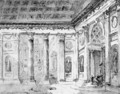The Entrance Of An Antique Palace With Colonnades - (after) Jean Lemaire
