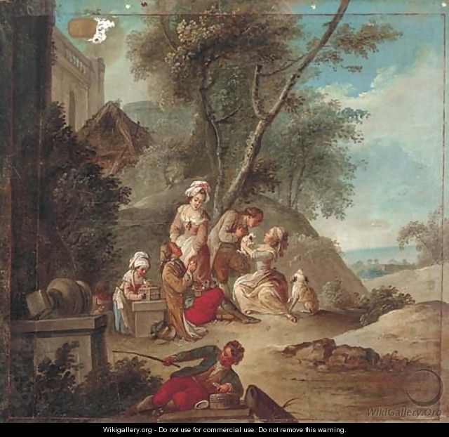Amorous couples in a garden with children and a young fisherman, the sea beyond - (after) Jean Baptiste Leprince