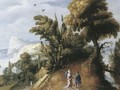 An extensive landscape with Tobias and the Angel - (after) Jasper Van Der Lamen