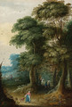 A wooded landscape with a traveller on a horse; and Peasants in a wooded landscape - (after) Jasper Van Der Laanen