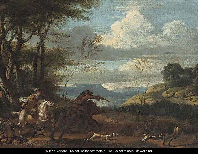 An extensive valley with a stag hunt - (after) Jan Wyck