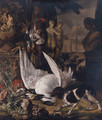 A spaniel guarding dead birds amongst garden statuary in a park landscape - (after) Jan Weenix