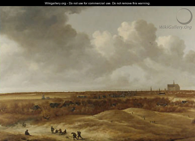 A panoramic landsape with Haarlem and the river Spaarne in the distance - (after) Jan The Younger Vermeer Van Haarlem