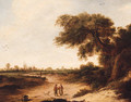 A landscape with a couple on a sandy track, a church beyond - (after) Jan Vermeer Of Haarlem