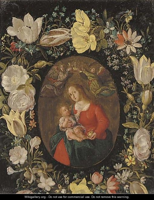 The Virgin and Child set in a feigned cartouche of tulips, roses and other flowers - (after) Jan Van, The Younger Kessel