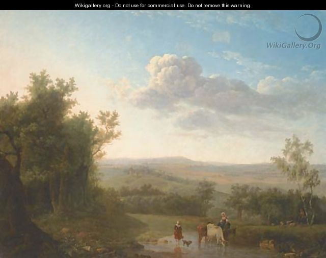 An extensive landscape with cattle and two women crossing a ford, a shepherd and flock by a tree - (after) Jean-Louis Demarne, Called Demarnette