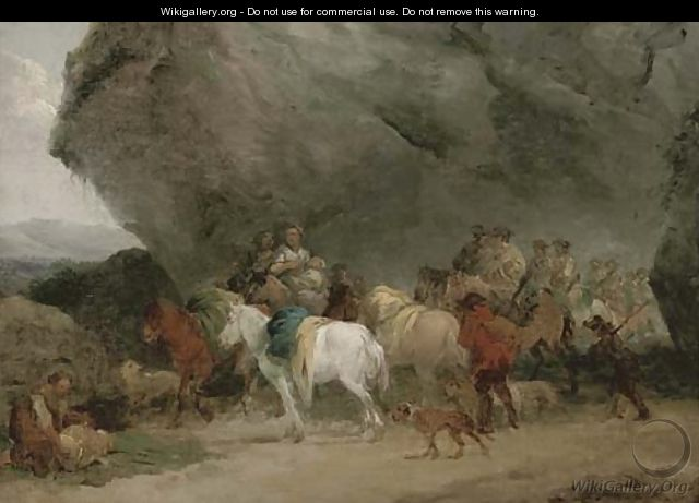 Cavalry men approaching gypsies by a grotto - (after) Fragonard, Jean-Honore