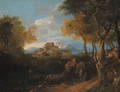 An extensive wooded landscape with figures on a path, a borgo beyond - (after) Jean-Francois Millet