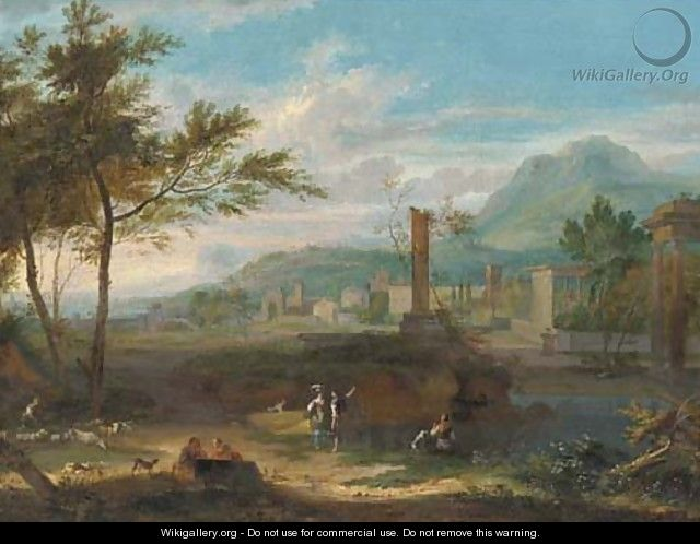 An Italianate landscape with classical ruins and figures in the foreground - (after) Jean-Francois Millet