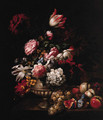 Tulips, Roses, Poppies and other Flowers in a Vase with Fruit on a Ledge - (after) Jean-Baptiste Monnoyer