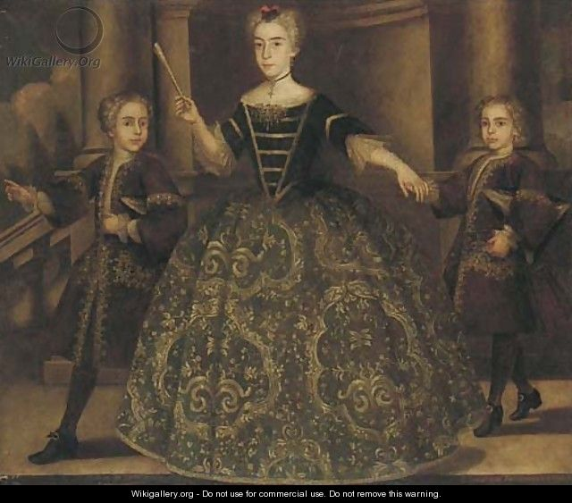 Portrait of Donna Maria de Montaner y Canglada and her two sons - (after) Jean Ranc