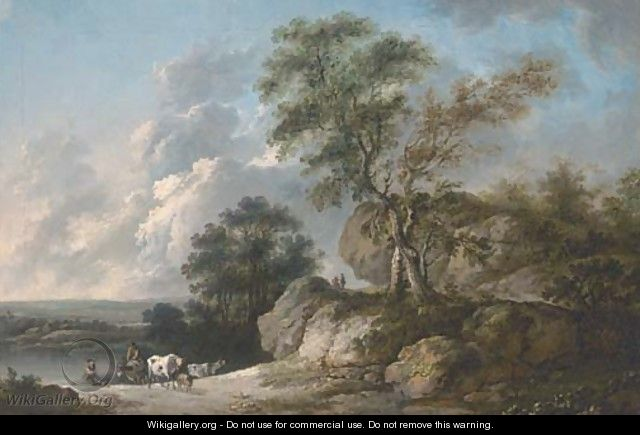 A rocky wooded river landscape with drovers and their cattle in the foreground - (after) Jean-Baptiste Pillement