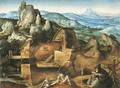 An extensive rocky landscape with the Temptation of Saint Anthony - (after) Joachim Patenier (Patinir)