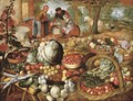 A greengrocer's stall with the Flight into Egypt beyond - (after) Joachim Beuckelaer