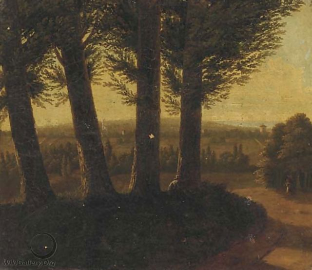 A wooded landscape at dusk with a figure smoking a pipe - (after) Jean-Victor Bertin