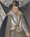 Portrait of King James I - (after) John De Critz