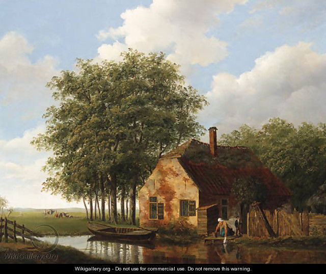 A Woman and Child outside a Cottage, Cattle grazing in a Meadow beyond - (after) Johannes Janson
