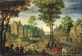 A horseman conversing with elegant company - (after) Jan The Elder Brueghel