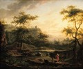 A river landscape with a washerwoman and a herder resting - (after) Jan Both