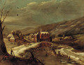 A winter landscape with a village by a river - (after) Jan Abrahamsz. Beerstraten