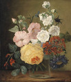 Flowers in a glass Jar on a Ledge - (after) Jan Frans Van Dael