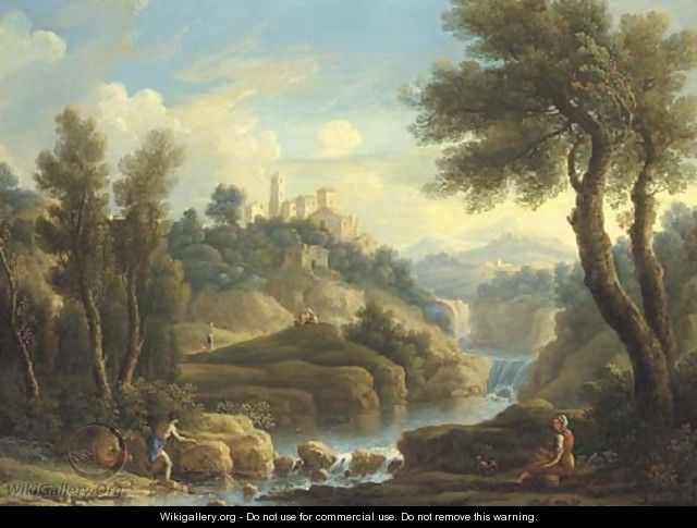 A mountainous river landscape with fishermen and other figures, a hilltop town beyond - (after) Jan Frans Van Orizzonte (see Bloemen)