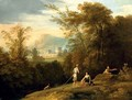 A landscape with shepherds, a town beyond - (after) Jan Frans Van Orizzonte (see Bloemen)