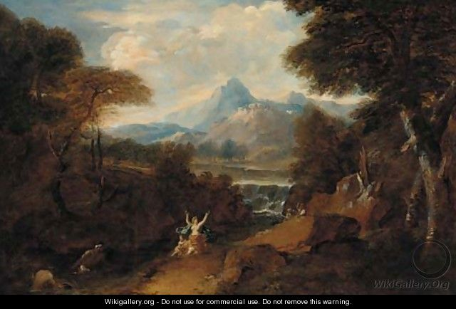 A classical landscape with Venus surprised by satyrs - (after) Jan Frans Van Orizzonte (see Bloemen)