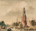 A view of the Oude Schans with the Montelbaanstoren, Amsterdam, the tower of the Zuiderkerk beyond - (after) Jan De Beijer