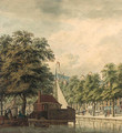 A view of a canal in a town (Amsterdam ) - (after) Jan De Beijer