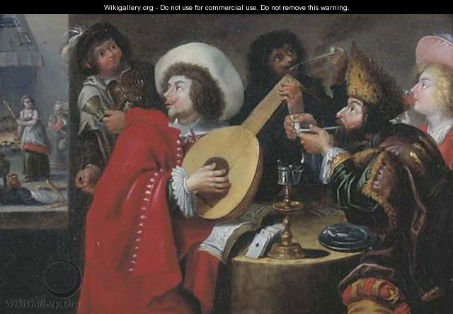 A merry company making music, smoking and drinking in an inn, a kitchen beyond - (after) Jan Cossiers