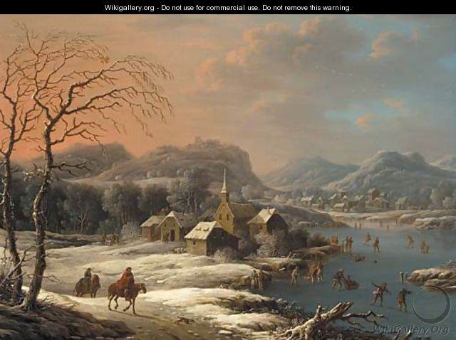 A mountainous winter landscape with ice skaters on a lake near a village - (after) Johann Christian Vollerdt Or Vollaert