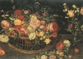 Roses, carnations and other flowers in a basket - (after) Jan, The Younger Brueghel