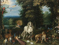 Animals and birds in the Garden of Eden, the Creation of Eve beyond - (after) Jan, The Younger Brueghel