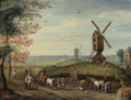 An autumn landscape with windmills and peasants harvesting - (after) Jan, The Younger Brueghel