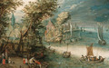 A wooded river landscape with travellers at a landing stage near a town, kaags, rowing boats and a ferry on the river - (after) Jan, The Younger Brueghel