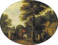 A wooded landscape with travellers in a wagon by a hamlet - (after) Jan, The Younger Brueghel