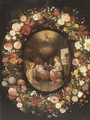 A garland of roses, tulips, jasmine and other flowers encircling an oval of The Virgin with Angels adoring the Child in the crib, with God the Father - (after) Jan, The Younger Brueghel