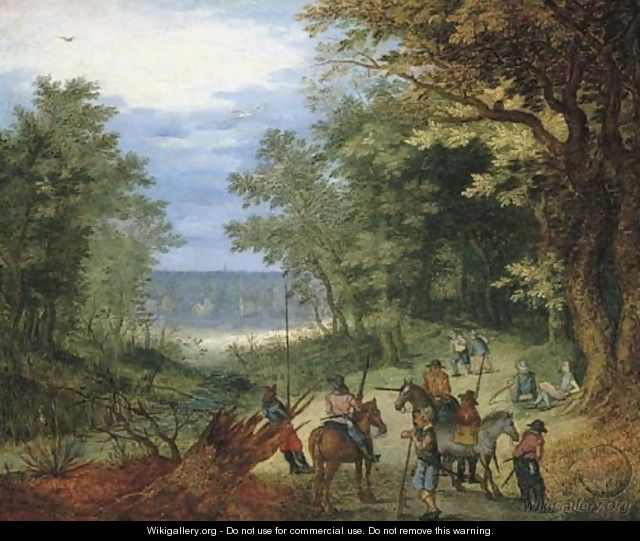 A wooded landscape with soldiers resting on a path by a stream - (after) Jan The Elder Brueghel