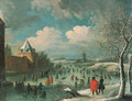 A winter landscape with townsfolk skating on a frozen moat - (after) Jan Griffier I