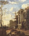 A wooded coastal landscape with travellers by a classical fountain - (after) Jan Gabrielsz. Sonje