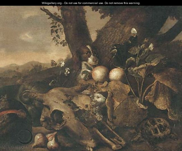 A wooded landscape with a dog, a tortoise, a skull, a rabbit, figs and other fruit in a clearing - (after) Jan Fyt