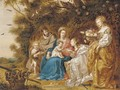 The Mystic Marriage of Saint Catherine of Alexandria, with Saint Joseph, Saint Dorothea and the Infant Saint John the Baptist - (after) Jan Van Balen