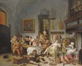A tavern interior with people drinking and music-making - (after) Jan Steen