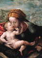 The Madonna and Child, a landscape beyond - (after) Jan Sanders Van Hemessen