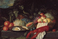 A lobster, a plate of oysters and fruit on a stone ledge in a landscape - (after) Jan Pauwel II The Younger Gillemans